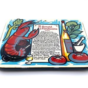 Vintage trivet with lobster motif made in France